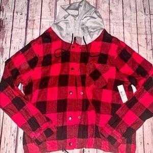 Buffalo Plaid Drawstring Hoodie Flannel XL Red